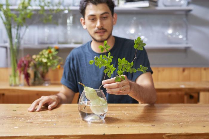 2. ドウダンツツジは水の吸い上げを良くするため、茎下部をハサミで縦に切り込みを入れる。ヒョウタンの後方に傾けて入れる。