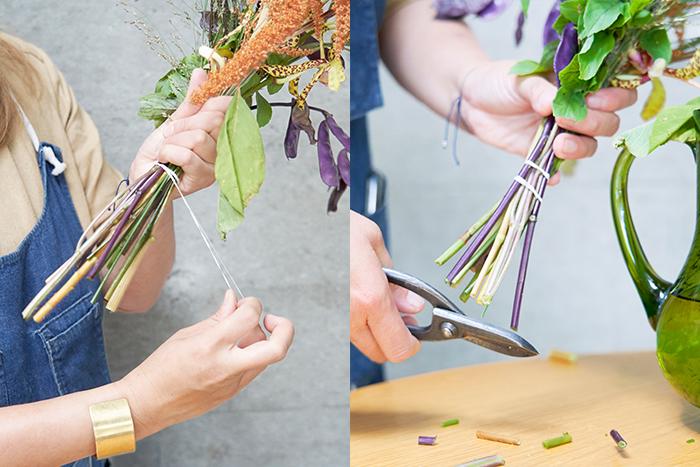 3.押さえていた部分を緩めに輪ゴムで結わえ、花バサミで茎下部を切る。このとき、花瓶に対しての高さを見ながら少しずつ切り、微調整する。