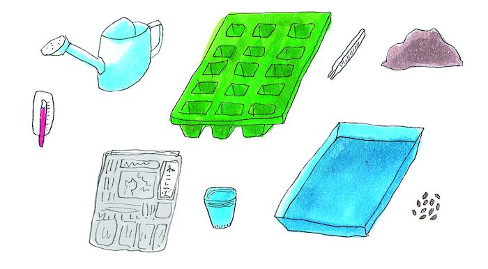エディブルガーデン、育苗、材料