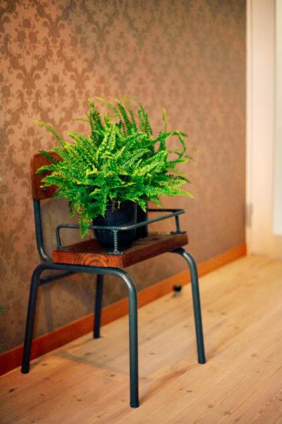 学校の椅子をリメイク。座面は足場板に変更し、鉄筋でバンパーを。USED感が魅力的な植物スタンド。