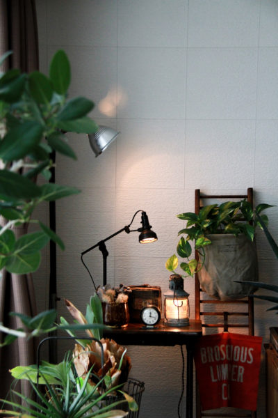 アメリカンヴィンテージの家具で統一されたおしゃれな空間。植物との相性もGOOD!