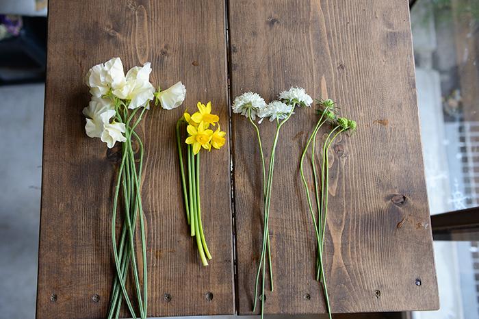 花材  スイセン スイートピー スカビオサ(花・蕾)  道具  花瓶 ハサミ ラフィア(紐)