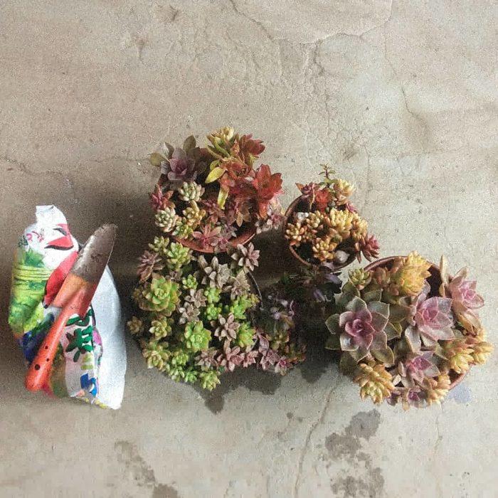 多肉の寄せ植えの色とスコップの色が揃っていてgood。