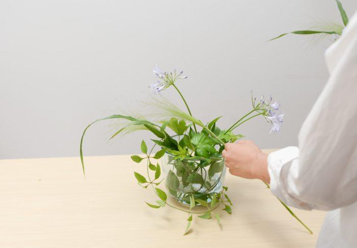 5、 スモークグラスをアガパンサスの茎の流れに沿って、空間を埋めるように生ける。