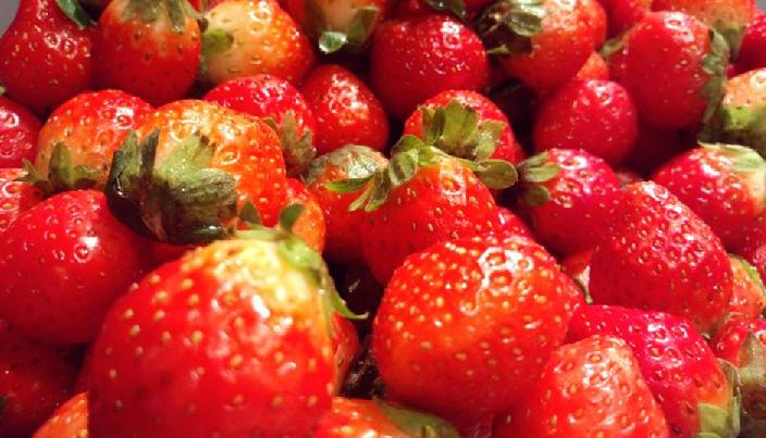 みなさんがいちごの実と思って食べている赤い部分は、花托(かたく)又は花床(かしょう)といって、花の付け根の部分が発達して食用部となったものです。