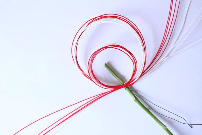4、 アルミの針金でマムの茎部分だけを括り付ける