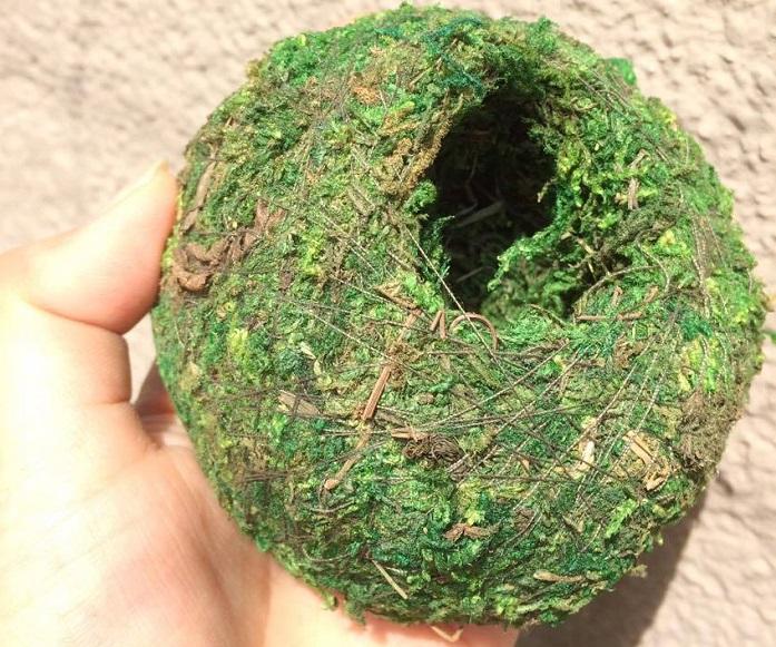 100均の苔玉の中身が気になる方はいるかと思います。  表面から見てみると少し小枝が入っていますが問題ない程度に思えます。実際に切って中を確かめると・・・