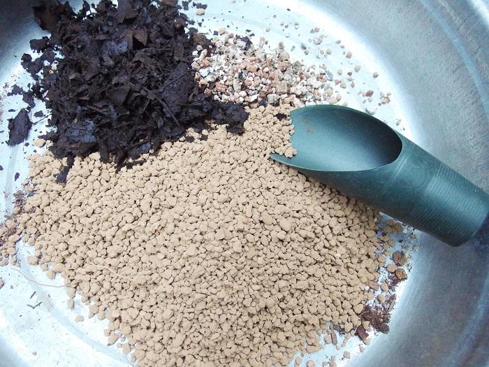 土は水はけのよいものを好みます。ユーカリ・ポポラスは乾燥を好むので、水はけのよい土がよいです。市販のハーブの土でも可能でしょう。今回はブレンドしてみました。赤玉土(小粒)7:腐葉土3で用意。購入した苗にバーミキュライトが入っていたので少し入れてみてます。