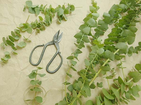 大きいユーカリの枝を1本購入して切り分けています。主軸の固い部分は使わず、枝が柔らかい部分を使うとやりやすいです。