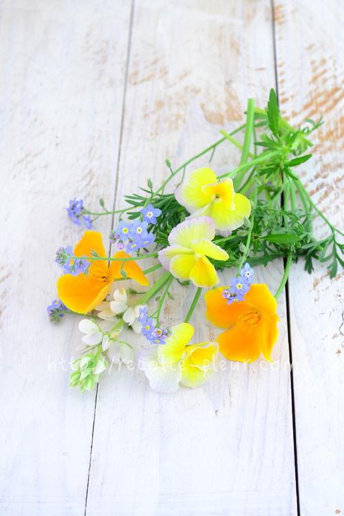 花は切り花としても使えます。育てた花だけで小さなアレンジも素敵です。  花菱草、ビオラ、ルピナス、忘れな草。