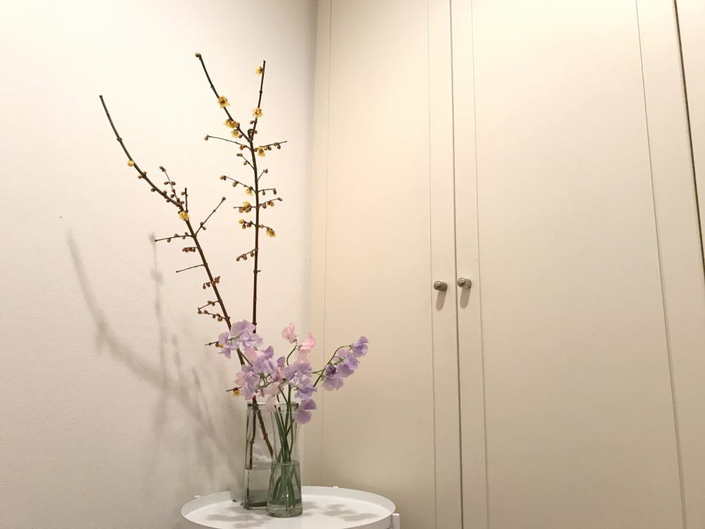 オフィスでは春の花スイートピーとともに玄関に飾りました。友人がおうちに来た際に、季節のお花の話をするのも楽しいいですよね。