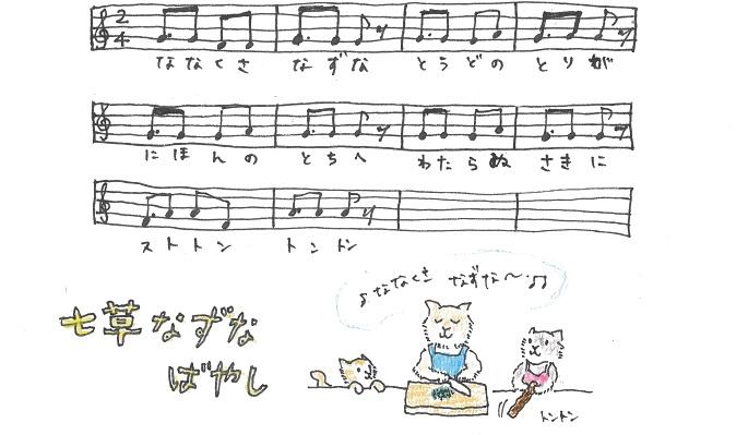 1月6日に七草なずなのお囃子を口ずさみながらまな板の上で七草を刻みます。