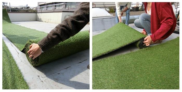 敷くときのポイントは、ロールの中心に手を入れて動かすこと。  人工芝に向きがあるので、何ロールも敷くときは人工芝の向きを揃えて並べると綺麗です。設置場所が決まったら奥側と手前で長さを調節していきます。