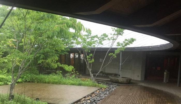 雨だと床の木が濡れてまた違った雰囲気。