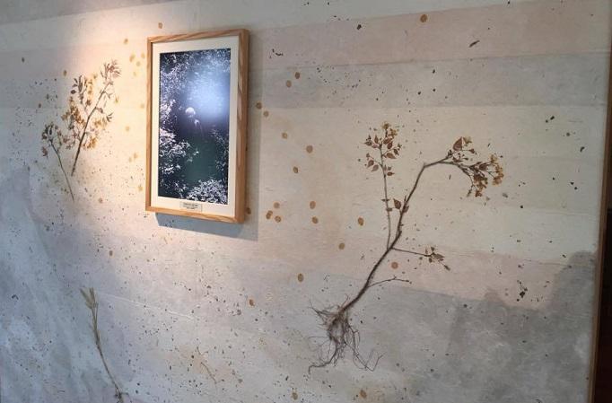 牧野富太郎先生が植物に囲まれている様子が表現されています。