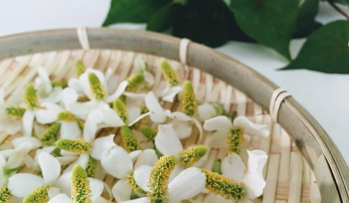 ドクダミの花部分と葉部分、今回は2つのチンキを作るので切り分けておきます。使用するガラスの保存瓶を煮沸消毒してしっかり乾燥させておきます。