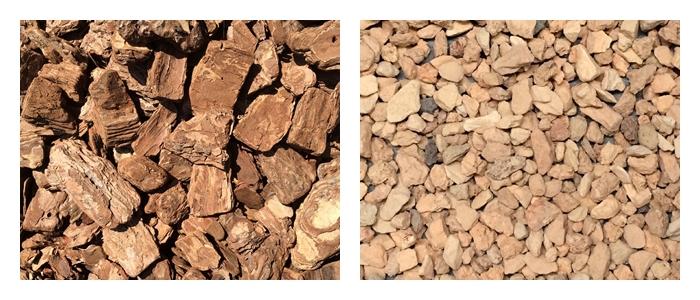 バークチップ(左)  松の樹皮を砕いたものです。丸みを帯びクッション性が高いので、ドッグランにもおすすめです。  レンガチップ(右)  レンガの再利用材で熱をためにくいです。優しい色合いはナチュラルなお庭にぴったりではないでしょうか。