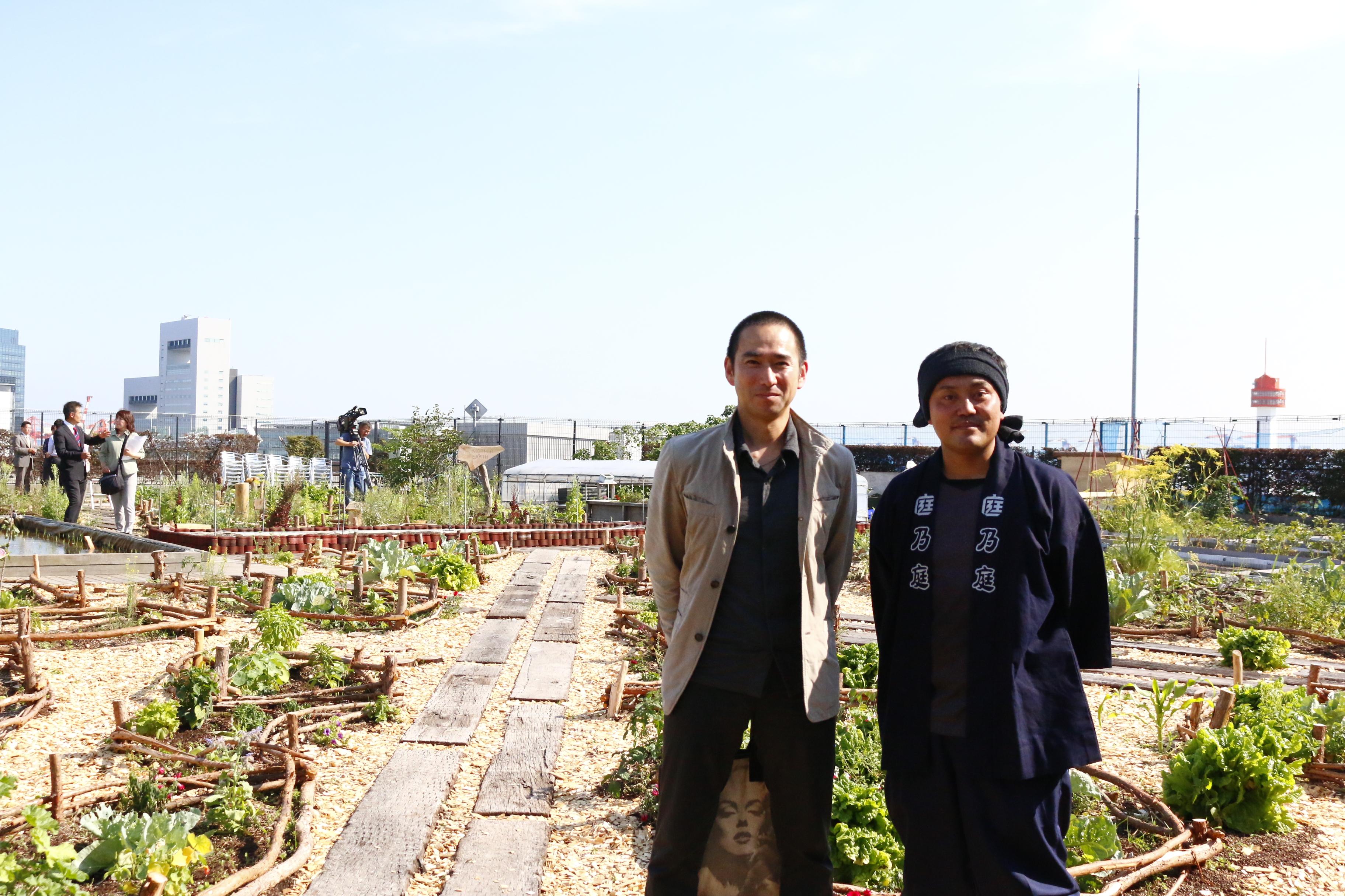 この木材を土の中に埋めており、しっかりと区画を支えています。  細部に木を施した作りは、森を感じることができ、木の自然な屈折を利用した菜園の作りは、都会の中でリラックスした環境のなかで、素敵なオーガニックライフが実現されています。  東京チェンソーズの企業の想いを、この都会の菜園~ポタジェガーデンにつなげるランドスケープデザインをされたのは、「乃庭」の代表竹本さん。  竹本さんのデザインしたポタジェガーデンは、まさに「農業・食・環境・地域を体験」を目指している、都会の菜園のコンセプトにとてもあった菜園ではないでしょうか。