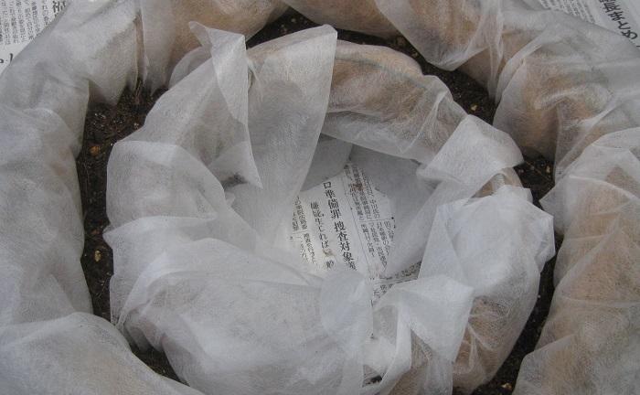 リース型バスケットに不織布を敷いて、うすめに培養土を入れます。(不織布を敷かずに作成することもできますが、敷くと土こぼれを防ぐことができ、器の劣化を遅らせることもできます。)