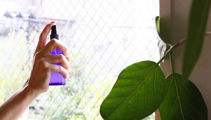 窓にハッカ油入りエタノールスプレーを何か所かスプレーし、マイクロファイバー雑巾で上から拭いていきます。