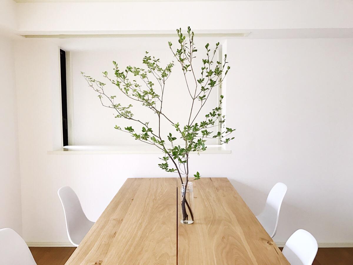 テーブルの食卓の真ん中に枝物があると、すてきな空間に。