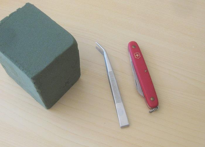 オアシス、ピンセット、ナイフ