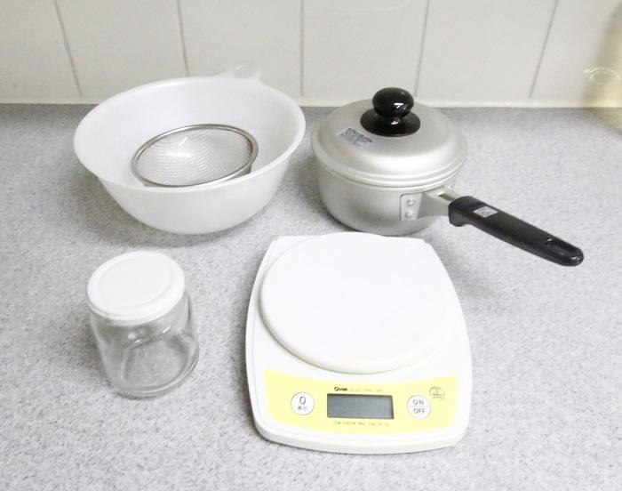 また道具は、以下のものが便利です。  ・はかり  ・ミルクパン  ・ざる  ・広口瓶  ・ボウル