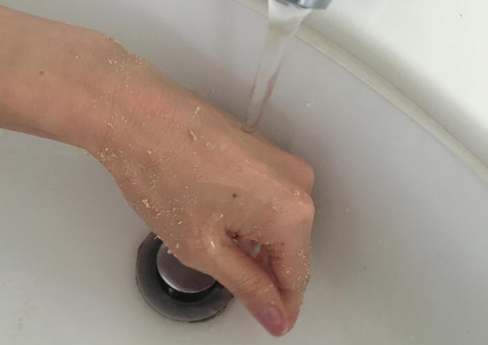 最後に洗い流しましょう。