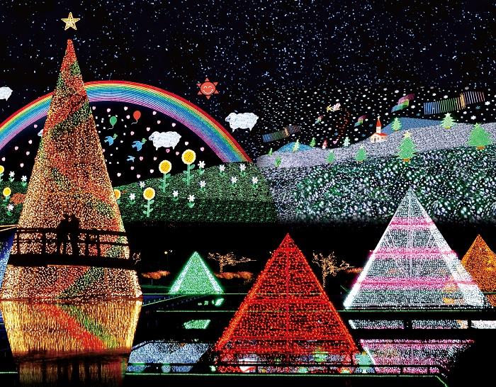 子どもたちにも人気のサンタクロースが空飛ぶ姿を光で再現した「スノーワールド」には上空にオーロラが登場します。  水面に光が映る事で光の量を倍に演出する「光のピラミッド」、「みんなの地球」や高さ25mの「イルミネーションタワー」、山際斜面を使用し頭上に登場する、光の壁画「天空の天の川とお花畑」、「レインボーマジック」も人気。  子供たちの笑顔がこぼれるにぎやかな園内。年々訪れるお客様の数も増え、イルミネーションの定番スポットとして定着してきています。    ▼このイベントをくわしくみる!