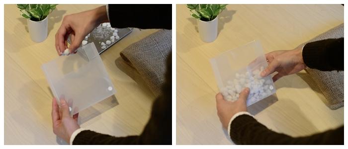 植え込み材料は、壁に掛けるので軽いものを準備。軽石を半分程入れます。