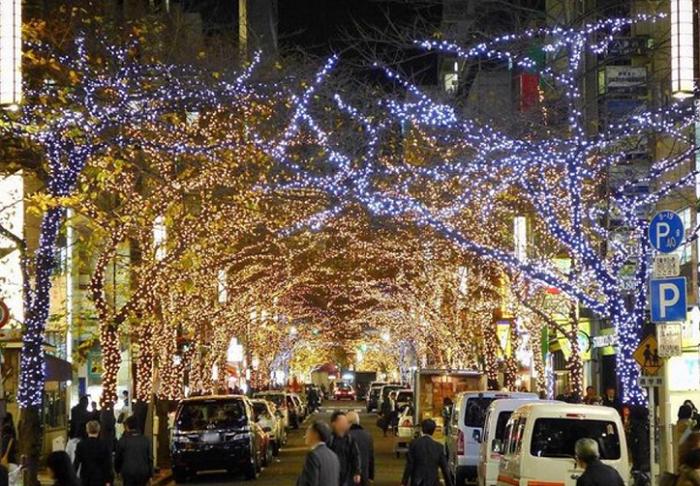 東京駅の近くにあるさくら通りの各交差点に面する桜の木には、枝先までLEDを使い装飾することで、大きく伸びた枝先が重なり合い「光の門」を形成します。  約15万球のシャンパンゴールドのLEDが「光の門と門」を繋ぐように上品な光で結び、街全体を華やかに演出します。    ▼このイベントをくわしくみる!