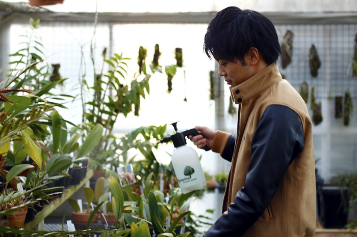 清水 柾孝 (しみず まさたか) 9歳の時にパフィオに出会い、それから洋ラン栽培を始め、現在は800株の栽培・育種に取り組む。全日本蘭協会、宇都宮蘭友会所属。多数の品評会・展示会にて入賞暦、審査員経験あり。園芸資材メーカーに勤務。
