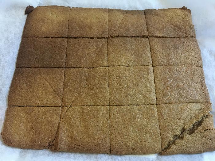 8. お好みの大きさに包丁で切れ目を入れ、クッキングシートの上に生地を並べ、180℃のオーブンで20分ほど焼きます。