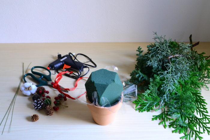 クリスマスツリーのアレンジメント・材料
