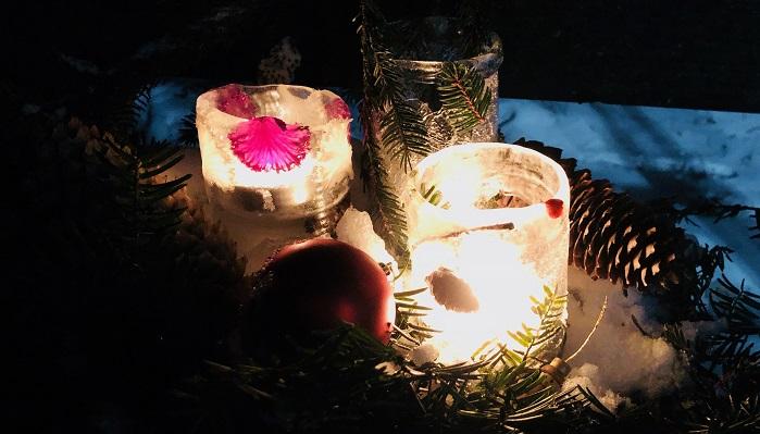 夜明かりをつけると氷の中の葉や実が照らされて幻想的な雰囲気になります。