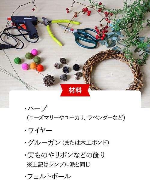 材料 ハーブ(ローズマリーやユーカリ、ラベンダーなど)、ワイヤー、グルーガン(または木工ボンド)、実ものやリボンなどの飾り※上記はシンプル派と同じ、フェルトボール