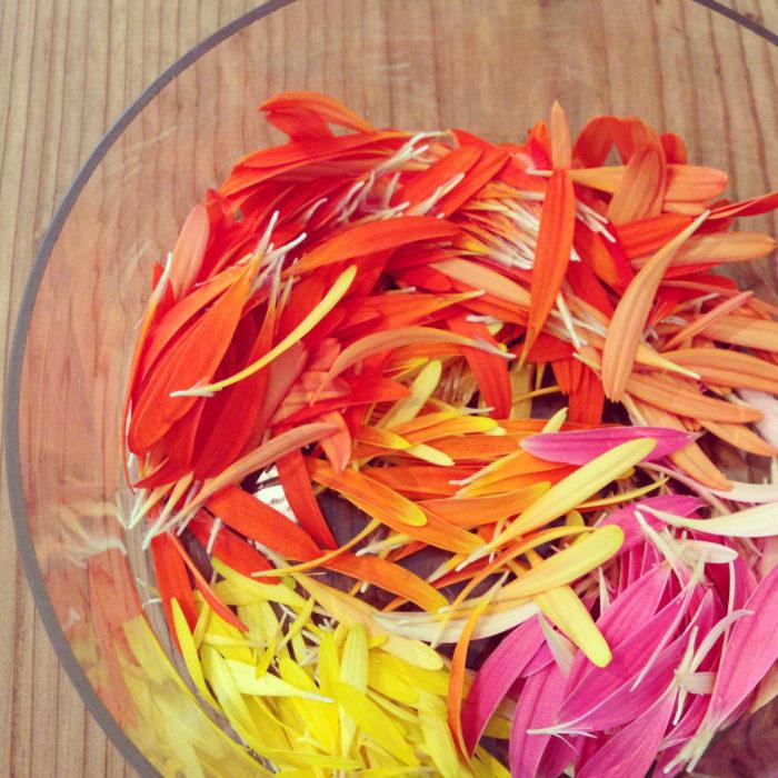ひらたい器に花びらを彩りよく並べても素敵です。透明のグラスに入れて縦長のオブジェのようにも楽しめます。