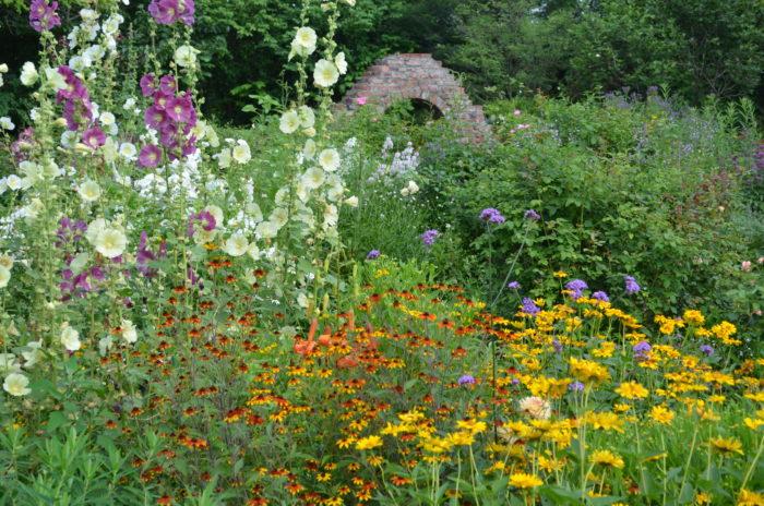 パープルウォークの中間地点に設けた大きな円を4つのブロックに分け、それぞれテーマカラーの花が植えられている庭です。植物がもつ微妙な色の変化や表情をバラと一緒に楽しめます。