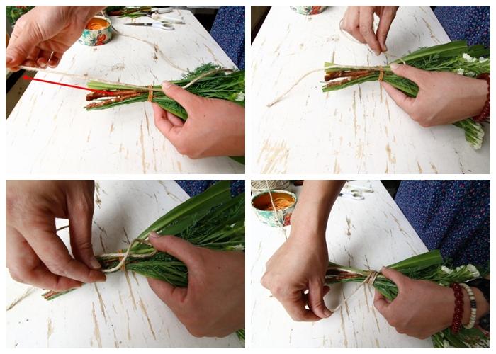 スワッグを壁にきれいに引っ掛けられる結び方。壁にかけるので、スワッグを裏にした状態で結んでいきます。  1.スワッグの茎の足元の方向に合わせて麻ひもを伸ばす。 2.茎の足元と反対側で輪っかをつくる。 3.親指で押さえて、ぐるぐると巻いていく。