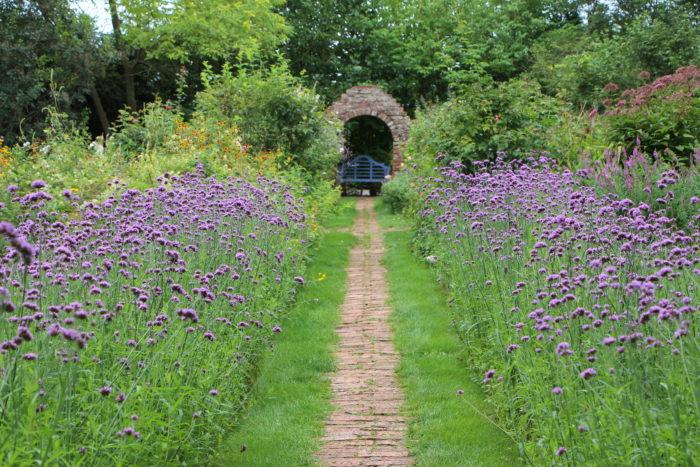 紫のグラデーションが美しいこの花の小道は、サークルボーダーへとつながっています。春は小さな花が咲く球根をちりばめたさまは、まるで「宝石の小道」です。