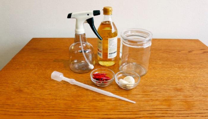・純米酢(米酢も可)500ml ・トウガラシ(鷹の爪)10本程 ・ニンニク1~3片 ・ガラス容器 容量750ml程