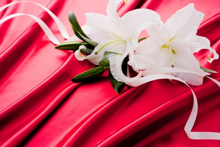 大輪の花は「ユリの女王」と呼ばれるカサブランカ。1970年代にオランダから世界に広がり、現在でもプレゼントとして人気の高いオリエンタルユリです。