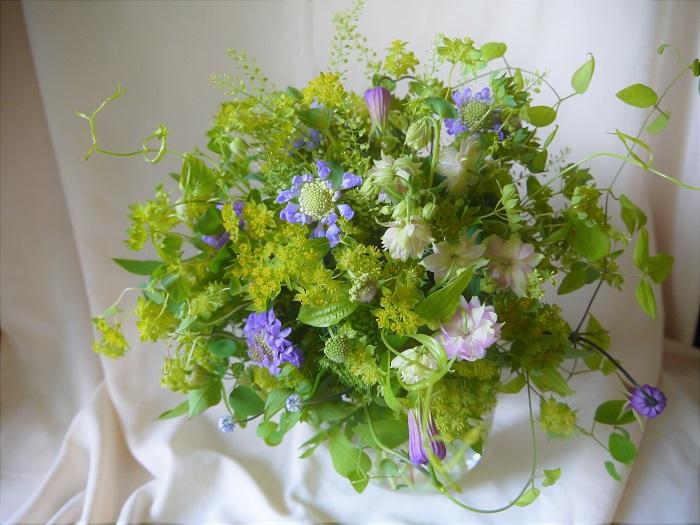 グリーンをたっぷりと使ったブーケです。お花をいっぱい入れた花々しいブーケも素敵ですが、まるで森の中にいるような、ため息が出るような柔らかさを感じてみてください。 初夏はグリーンが瑞々しく美しい季節です。四季を通して、植物は絶え間なく表情を変え続けます。お花だけではなく、その季節にしか楽しめない植物たちの魅力を見つけてあげてください。
