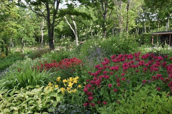 「春、夏、秋、それぞれの季節を司る精が住んでいる」そんなイメージをふくらませてデザインされた庭です。  開花期が同じ植物を同じゾーンに植栽し、季節ごとに可憐な花が競い合うように咲くことで、シーズンごとに全く異なる空間を堪能できるガーデンです。