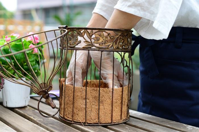 カットしたココヤシマットを、鳥かごの内側に一周はわせます。