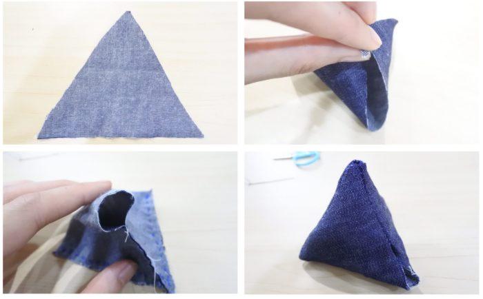 袋を作ります。三角錐は大きな三角を頂点を合わせるように縫います。裏表に縫っておき、2センチほど残した所からひっくり返します。