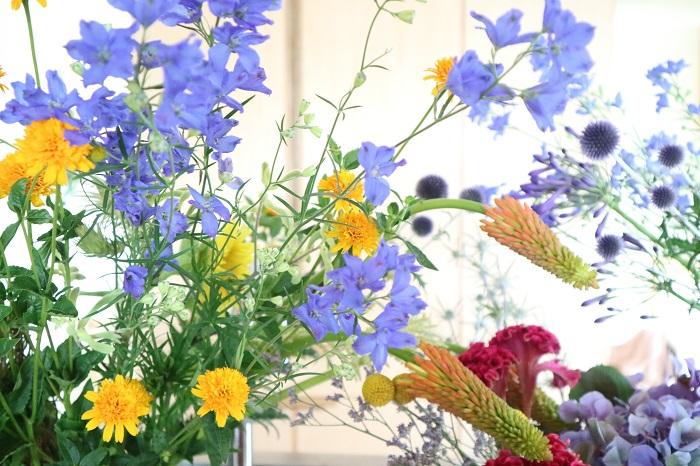 この季節ならではの花「ヒマワリ」を生けて、短い夏を堪能してみませんか?  他にも赤いヒマワリや様々な種類のヒマワリがあるのでお花屋さんで好きなヒマワリを見つけてほしいです!