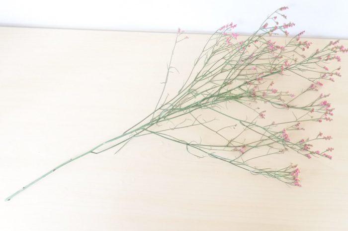 リモニウム…今回使用した花材で一番小さい花です。周りにふんわりと添えるとボリューム感と軽さが出せます。