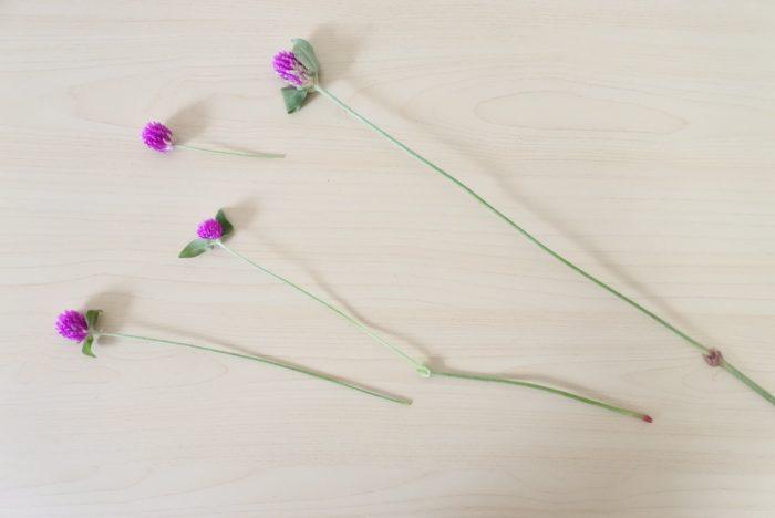 1本に複数花がついている場合は切り分けて生けることもできます。