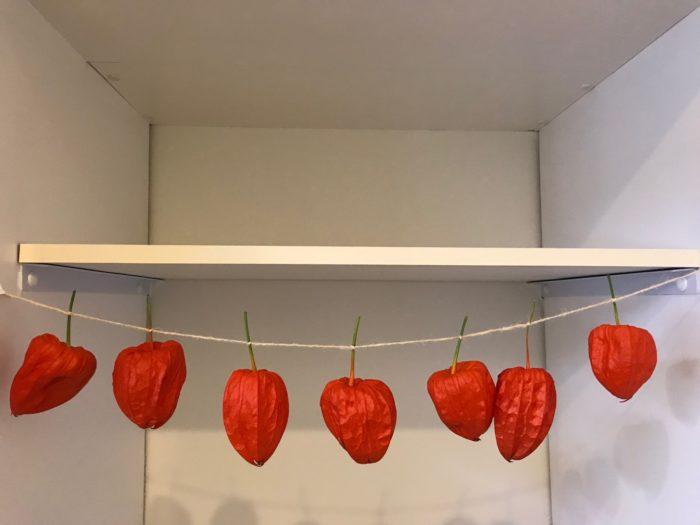 麻紐などの紐に均等に結び付けて、仏壇や盆棚または精霊棚に吊るして飾る。  ※仏壇や盆棚の両端に笹を立てて笹に麻紐の端と端を結びつける供え方もあります。